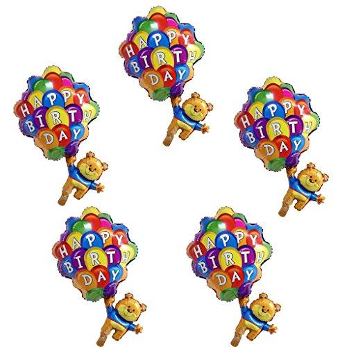 Prettyia 5pcs Bär Fallschirm Aluminiumfolie Ballon Baby Party Geburtstags Party Dekoration