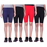 Belmarsh Girls Stretchable Cycling Shorts - Pack Of 4 (NVY_BLK_RED_BLK)