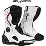 MOTORBIKE XTRM 705 RACE BOOTS Motorcycle Sports Racing Touring Armour Boots WHITE NEW (UK 11 / EU 45)