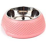 Badalink Tazón de Acero inoxidable con Plastico para Perro Gato Mascotas Cachorro Rosa