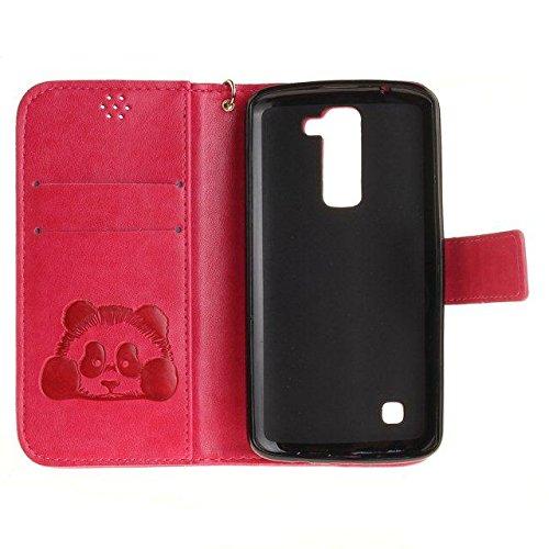 Custodia per LG K8, Etsue lusso di stile del dente di leone modello di colore puro marrone ultra molle Portafoglio in pelle cassa di libro Con chiusura magnetica Ultra Slim Fit Sottile flip copertura  Panda/Rose Rossa
