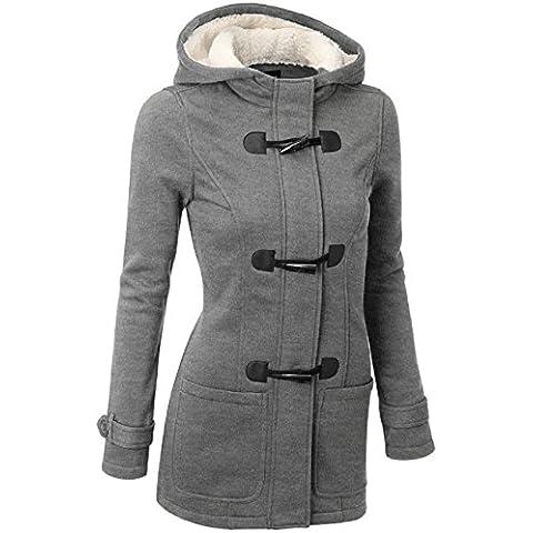 ZEARO Mujer Invierno Abrigo Casual Sudadera con Capucha con Botón Zip Chaqueta de Lana Capa Jacket Parka Pullover