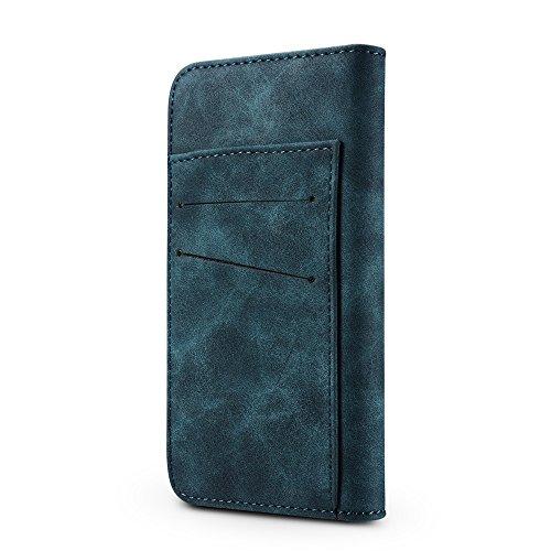 EKINHUI Case Cover Retro Style abnehmbare magnetische Leder Tasche mit großem Capard Card Cash Slots und Secure Niet Gürtelschnalle für iPhone 7 Plus und 8 Plus ( Color : Gray ) Green