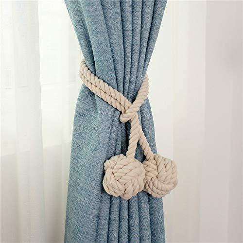 Do4u coppia di nappe fermatenda in corda, fatte a mano e con un'unica pallina, per tenere legate le tende beigedoubleball