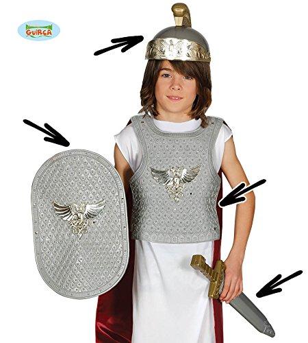 Guirca Antikes Kinder Ritterset mit Brustpanzer Schild Helm und Schwert für Römer Karneval Fasching Party Rom