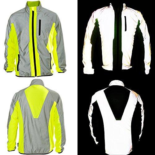 Btr giacca alta visibilità riflettente leggera e traspirante taglia large adatta a corsa, jogging, ciclismo e tanto altro