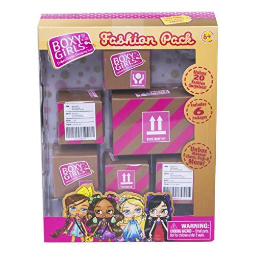 Boxy Girls 35658 Fashion Pack Retail Box, Set mit 6 speziell entwickelten Kartons mit Mode und Accessoires gefüllt Modepuppen, Auspacken Nonstop für Mädchen ab 6 Jahre, Mehrfarbig