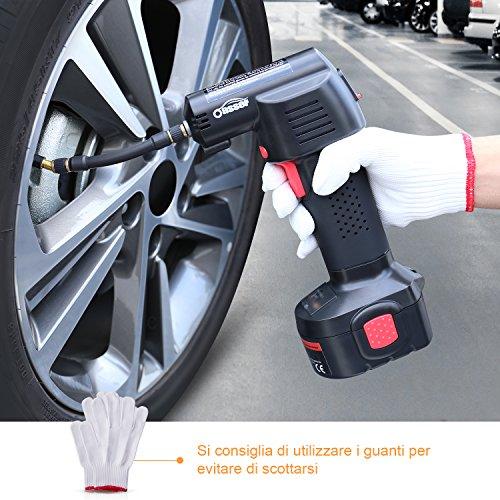 Compressore Aria Portatile Auto, Oasser Pompa Elettrica Ricaricabile con Schermo LCD 23L/Min (P2 Compressore) - 3