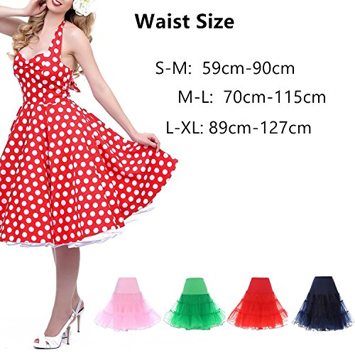 Find Dress Vintage Damen 50er Jahre Rockabilly Petticoat Wedding bridal Knielang unterrock FD10041Royal Blue L-XL -
