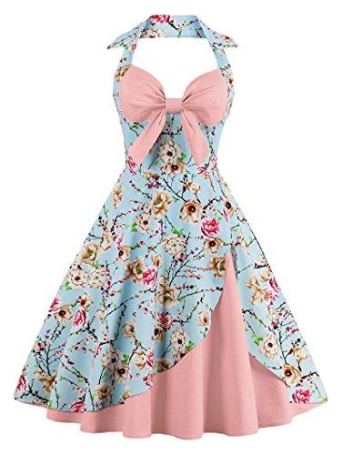 Babyonline Damen Halter Vintage Retro Kleider Abendekleider, Rosa, ()