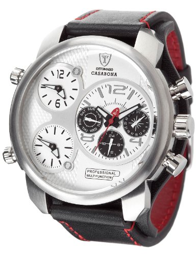 DETOMASO Casabona Men's Quartz Watch with White Dial Analogue Display and Black Leather Bracelet Dt2018-B