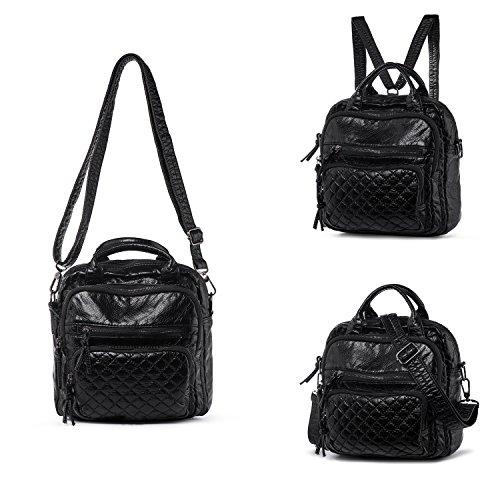 Katloo Multifunktionale Tasche Damen Rucksack Weich Gewaschen Leder Backpack Damen Schultertasche Handtasche Umhängetasche mit 6 Reißverschluss Fächer (Schwarz) (Tasche Rucksack Handtasche)