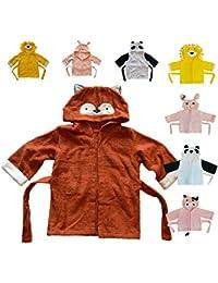 DAS ORIGINAL BOMIO® Baby Bademantel mit Kapuze, verschiedene Tier-Designs, verschiedene Größen