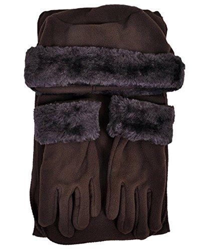 boxed-gifts Cloche Damen Winterset mit Mütze, Schal und Handschuh, 3-teilig - Braun - Einheitsgröße (Damen Fleece Cloche Hut)