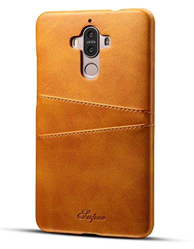 Huawei Mate 9 Hülle, Airart Premium Vintage Weichem Leder-Mappen-Kasten, Ultra Slim PU Leder Rückabdeckung Handyhülle mit 2 ID Kreditkarte Slots Halter für Huawei Mate 9 (5,9 Zoll), Hellbraun
