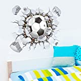 Janly® Wall Sticker 3D Football Soccer Playground Broken Wall Hole Window View Home Decals for Boys Room Sports Decor Mural