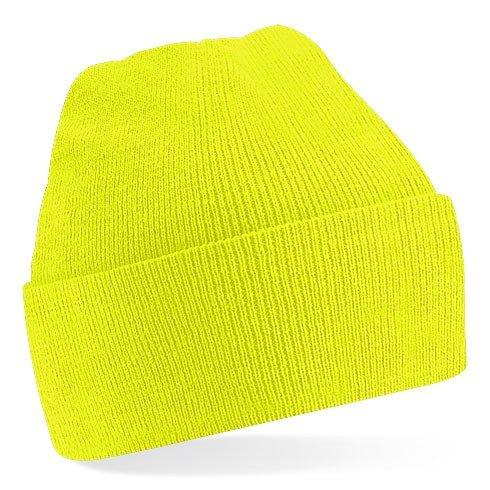 Modische Unisex Winter Mütze, Farbe:Fluorescent Yellow;Größe:One Size one size,Fluorescent Yellow