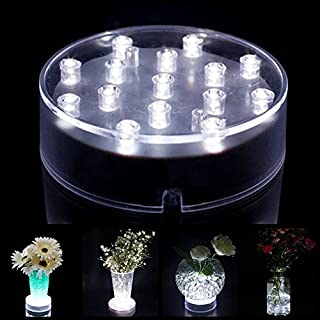Acmee (Pack of 2) Battery Operated 4 Inch Round Super Bright LED Plate Light, Display Light base for Crystals, 15 LED Vase Base for Wedding Table (Transparent Case)
