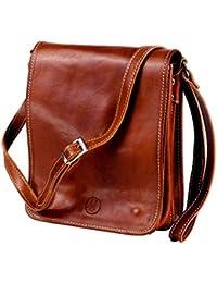 MICHELANGELO Fait à la Main en Vrai Cuir Italie - Petit sac à main Vintage en Cuir 19x8 H15 cm (MARRON)