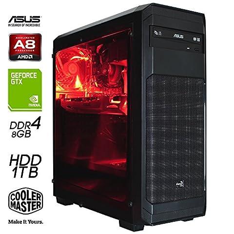 SNOGARD PC-Gaming Computer | AMD A8-9600 Bristol Ridge | 8GB DDR4 RAM | 1000GB Festplattenspeicher | 2GB GTX1050 | DVD-RW | Gamer PC Komplett System | Spiele-PC