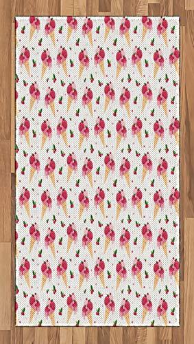 ABAKUHAUS EIS Teppich, Schmelzendes Cranberry Top, Deko-Teppich Digitaldruck, Färben mit langfristigen Halt, 80 x 150 cm, Pfirsich Grün Rosa - Cranberry Farbe Teppich