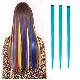 Extensions Haarverlängerung Haarteil 1 Clip 55cm/ 22'' Strähne Strähnchen Langhaar Glatt Perücken für Damen Frauen Karneval Cosplay Halloween Schaufensterpuppen Modell Partei (Blau)