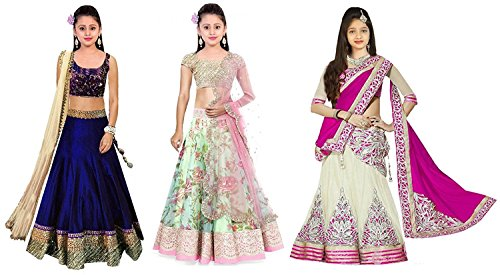 Super Deal Kids Girls Wear Semi-stitched Free Size Combo Pack Of 3 Lehenga Choli (Girls Wear 8-12 Year)