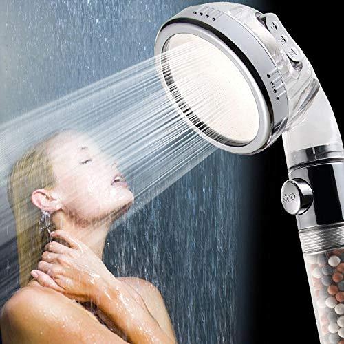 Universal Wassersparen Duschkopf,Wasserstopp mit einem Knopf Leistungsstarker Druckwasser sparender Duschkopf 3-Modus Negativ-Ionen-Filter Duschkopf Abnehmbare Wäsche