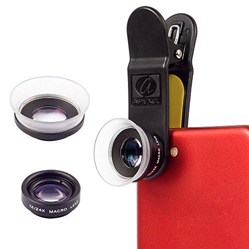 Apexel 2 in 1 12X Makro Objektiv/24X Super Makro Objektiv für iPhone Samsung Galaxy Note 4/3/2 Samsung Galaxy S6 S7 Edge/S6/S5/S4/S3/A7/A5