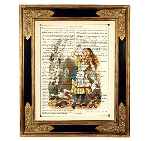 Alice im Wunderland Spielkarten Poster Druck Kunstdruck auf antiker Buchseite Geschenk für Frauen Kinderzimmer Geburtstag Steampunk ungerahmt