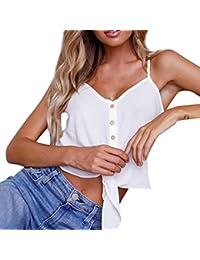 Mujer Blusa,Sonnena ❤️ ❤️ Sexy off hombro Color sólido sin manga lace blusa con tirantes cuello-V para mujer y chica joven casual tops de verano fresco para citas al aire libre