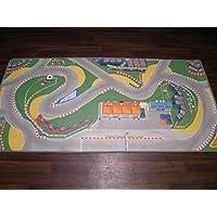 Kids Vinyl Race Track Playmat / Rug 100cm x 200cm Easy Wipe Clean