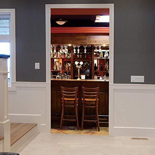3d per porte decorazione parete - nuovo ristorante europeo adesivo porta universale 3d pvc carta da parati fai da te impermeabile murale adesivo per soggiorno camera da letto home decor