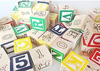 CraftDev ABC 123 Wooden Blocks Letters Numbers, Wooden (36 Pieces)