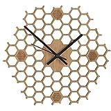 Horloge Murale Silencieuse En Bambou, Nid D'Abeilles En Bois Style Moderne Et Minimaliste (Hexagonal-Ouvert)