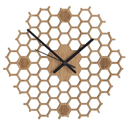 Wanduhr in offener Bienenwaben-Form - Kreatives und modernes Design aus  Bambus/Holz - Leise ohne Ticken - Sechseckig mit offenem Rand