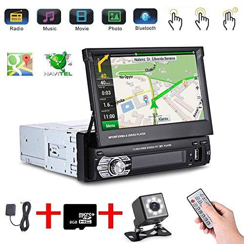 Podofo - Reproductor de radio estéreo para coche con pantalla táctil de 7 pulgadas (1 DIN, MP5), compatible con GPS y navegador, mapa de la UE + cámara 8 IR CCD