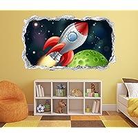 3D Wandtattoo Kinderzimmer Cartoon Weltraum Weltall Rakete Planet Kosmos  Wand Aufkleber Wanddurchbruch Sticker Selbstklebend Wandbild Wandsticker