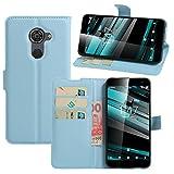 HualuBro Vodafone Smart Platinum 7 Hülle, Premium PU Leder Leather Wallet Handyhülle Tasche Schutzhülle Case Flip Cover mit Karten Slot für Vodafone Smart Platinum 7 Smartphone (Blau)