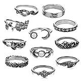 Jiayiqi 11pcs Mond Blumen Kristall Über Knöchel Ring Set Weihnachts Geschenk