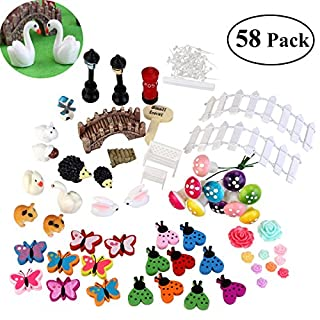 BESTOMZ 58 pcs Miniature Fairy Garden Ornament Dollhouse DIY Kit Décor