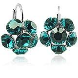 Blüten-Ohrringe mit Kristallen von Swarovski® Silber Türkis NOBEL SCHMUCK