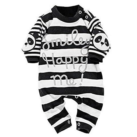 Baby Mäntel,Switchali Neugeborener Säuglingsjunge Streifen-Panda-Druck-Spielanzug-Overall-Ausstattungs-Kleidung (12M, Schwarz)