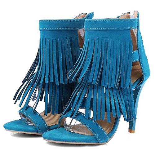 COOLCEPT Femmes Mode Orteil ouvert Enveloppement de cheville Sandales Retro Talons hauts Chaussures with Franges Bleu