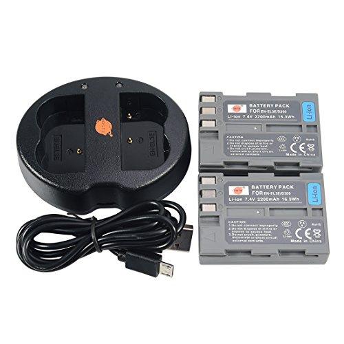 DSTE 2-Pack Batteries + Dual USB Chargeur pour Nikon EN-EL3E D30 D50 D70 D70S D80 D90 D100 D200 D300 D300S D700