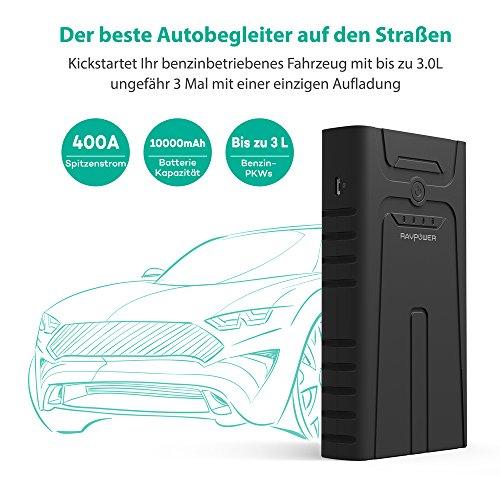 RAVPower Auto Starthilfe 400A Spitzenstrom Autobatterie Anlasser für bis zu 3.0L Benzinmotoren, 10000mAh Externer Akku Ladegerät mit LED Taschenlampe