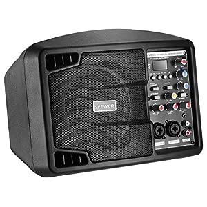 Neewer Altoparlante Stereo Impianto di Diffusione Sonora con Piccolo Display & Telecomando, Mixer a 3 Canali, 2 Bande EQ, Potente Compatto Attivo Altoparlante Amplificatore con Mixer, Leggero & Portatile in Nero (NW-PSM05R)