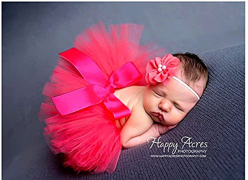 Butterem Neugeborene Baby Säugling Fotografie Stütze Kostüm Outfits Tutu Rock Outfits Blume Stirnband Set, Rot (Accessoires Und Kleidung)
