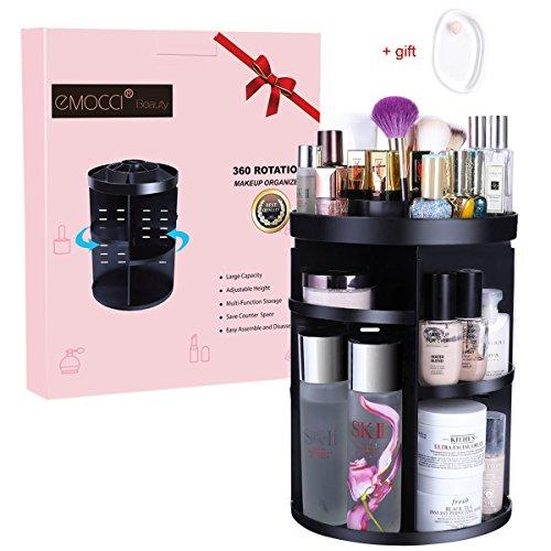 Acryl-gehäuse Große (Makeup Organizer, EMOCCI 360 Grad DIY abnehmbare Kosmetik Speicher Große Kapazität Acryl Make Up Shelf Black)