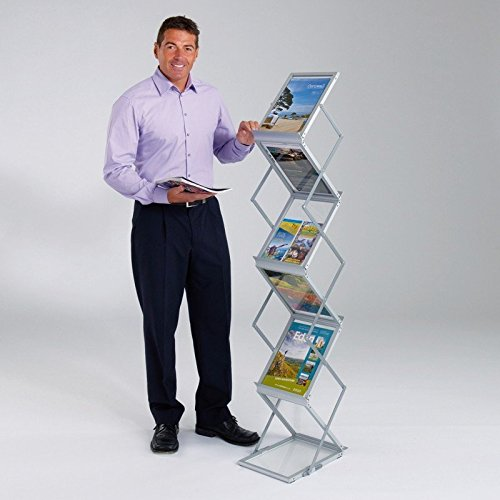 Neat Double Sided Zig Zag Brouchers And Magazines Display Stand